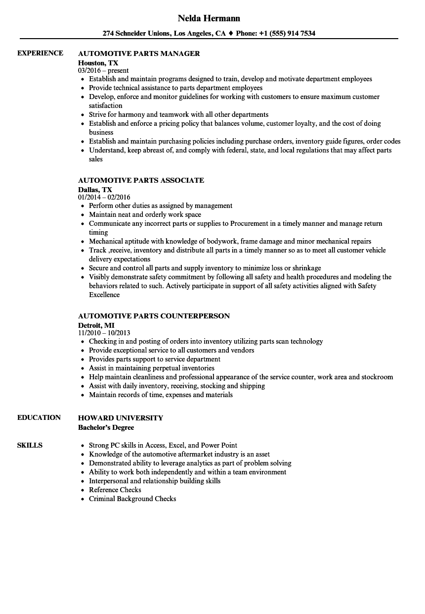 Download Automotive Parts Resume Sample As Image File