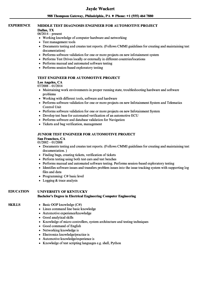 Automotive Project Engineer Resume Samples Velvet Jobs