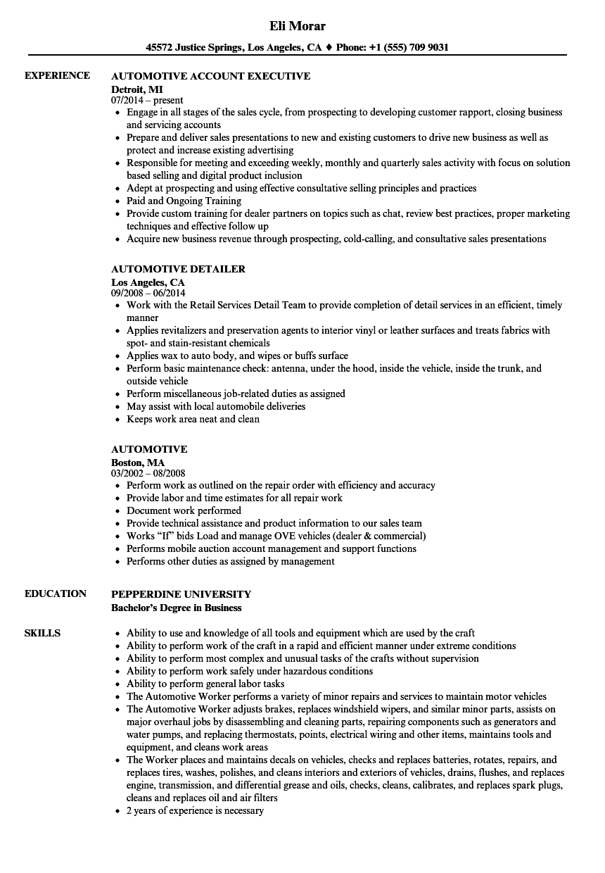 Automotive Resume Samples Velvet Jobs