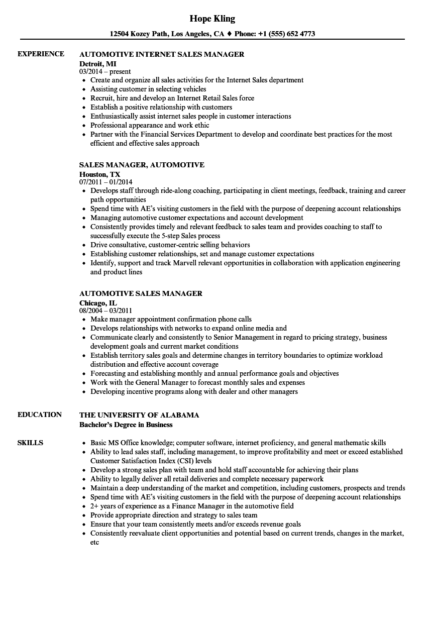 Automotive Sales Manager Resume Samples | Velvet Jobs