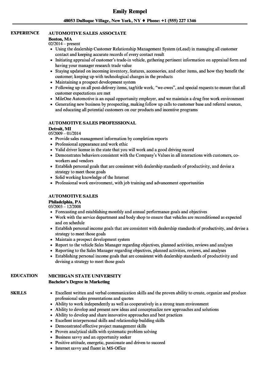 automotive sales resume samples velvet jobs