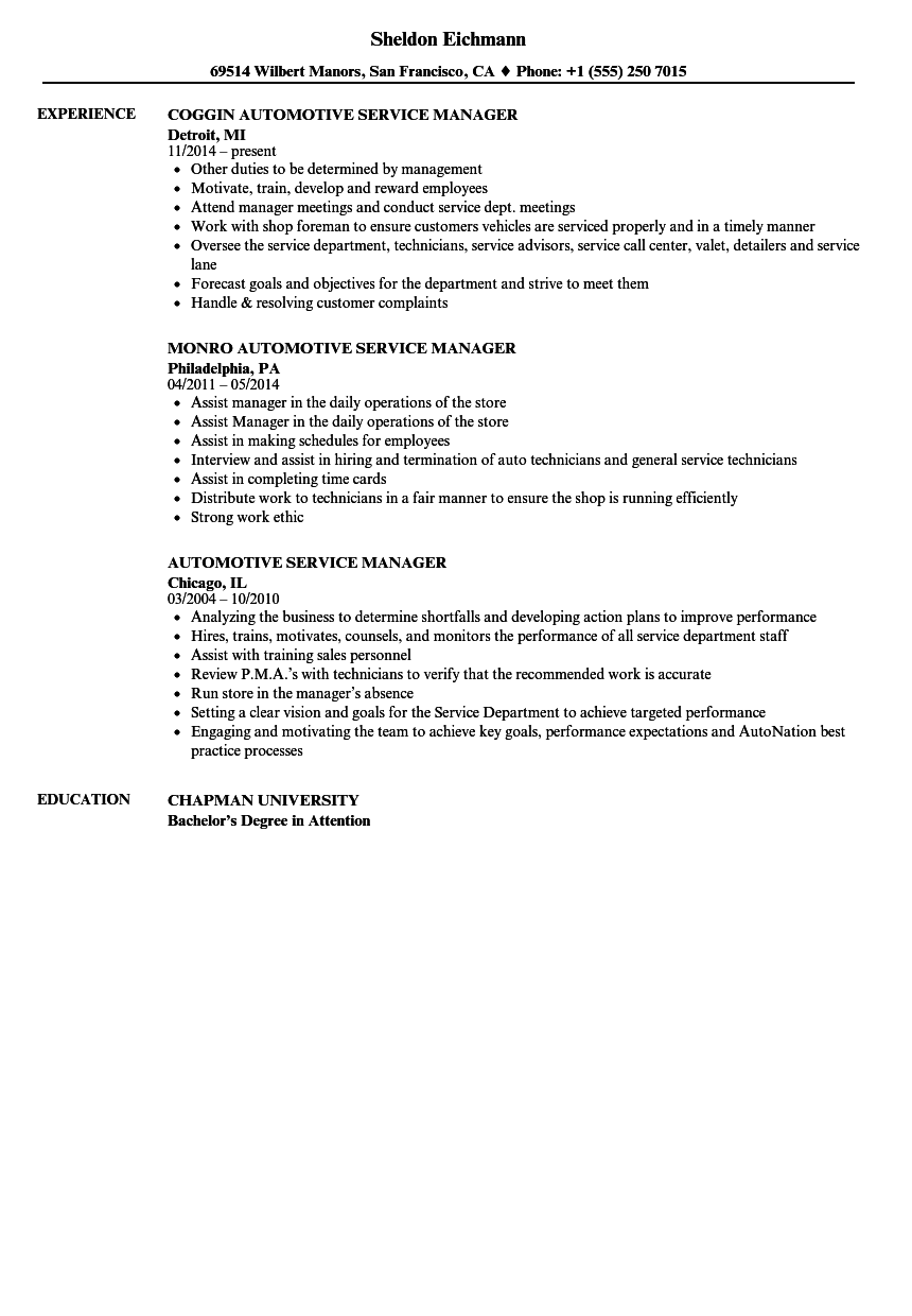 Automotive Service Manager Resume Samples | Velvet Jobs