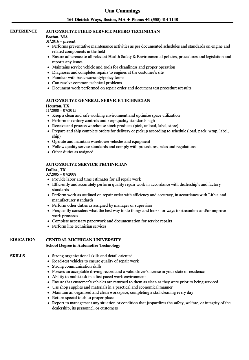 Automotive Service Technician Resume Samples | Velvet Jobs