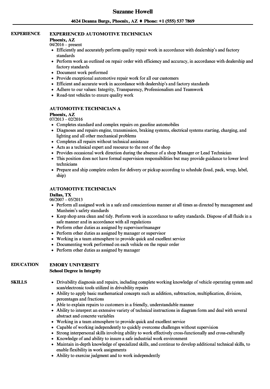 Download Automotive Technician Resume Sample As Image File