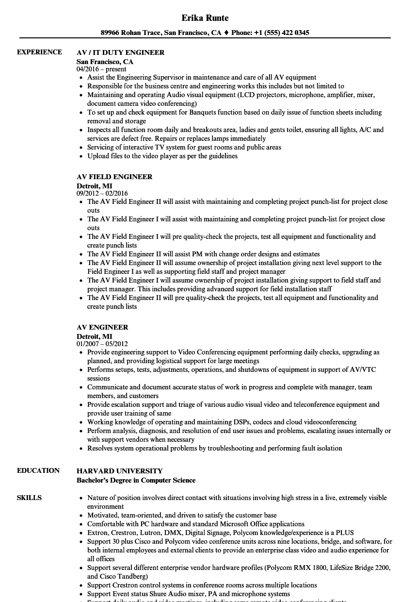 AV Engineer Resume Samples   Velvet