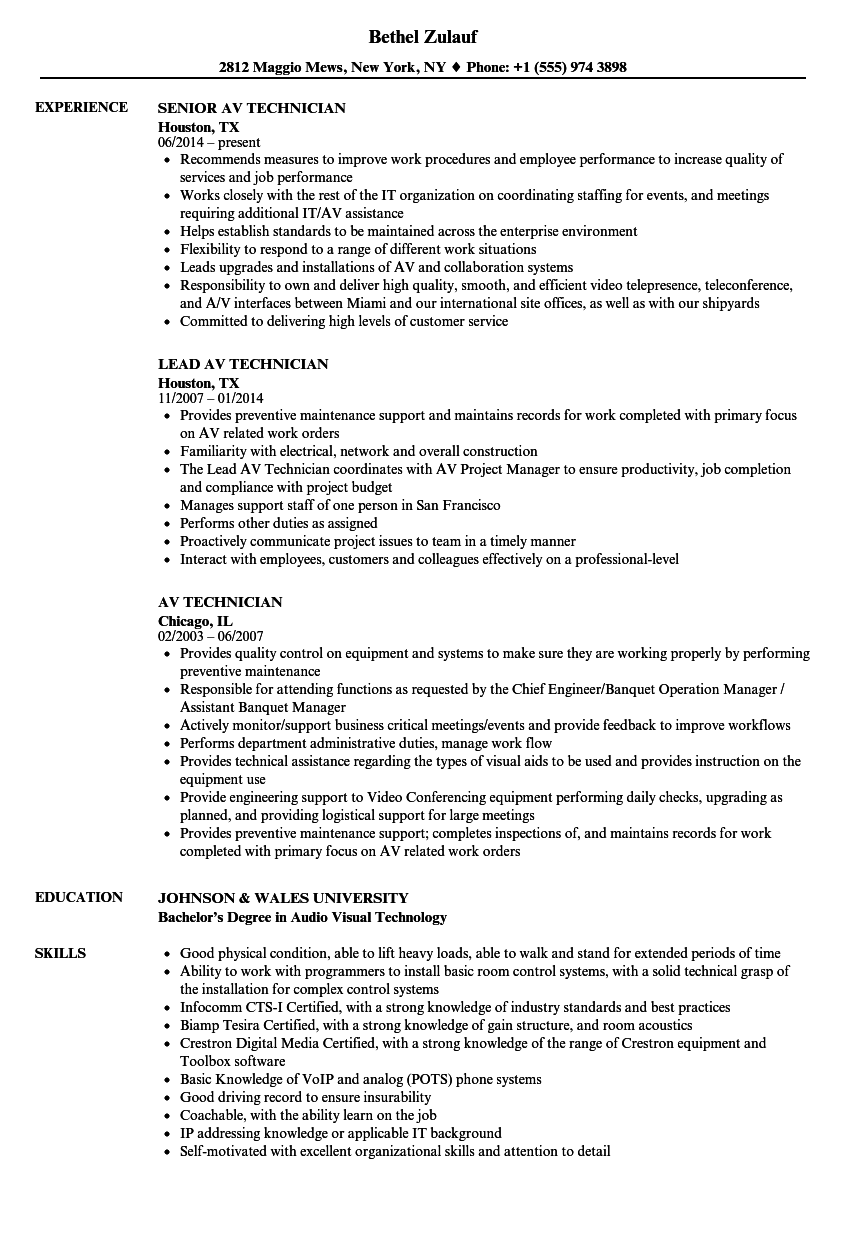 AV Technician Resume Samples | Velvet Jobs