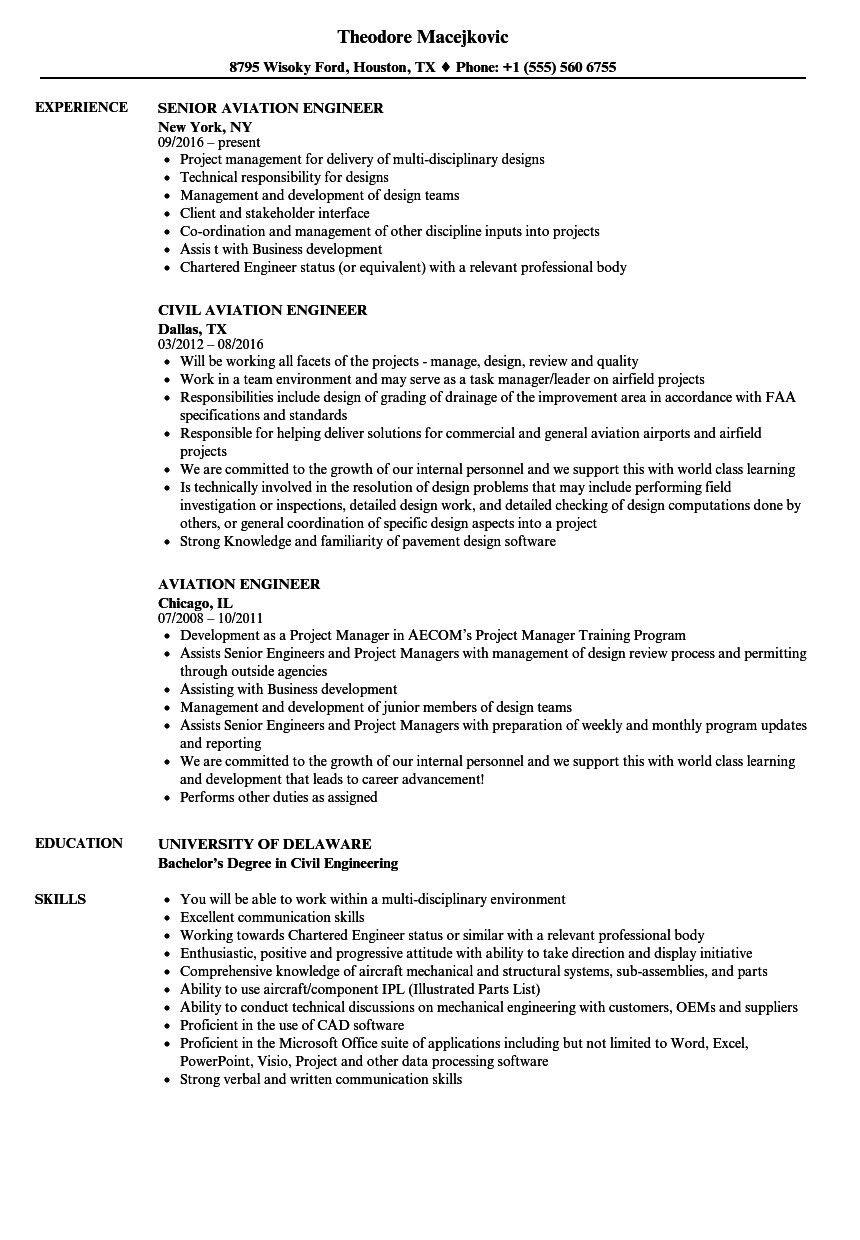 Aviation Engineer Resume Samples | Velvet Jobs