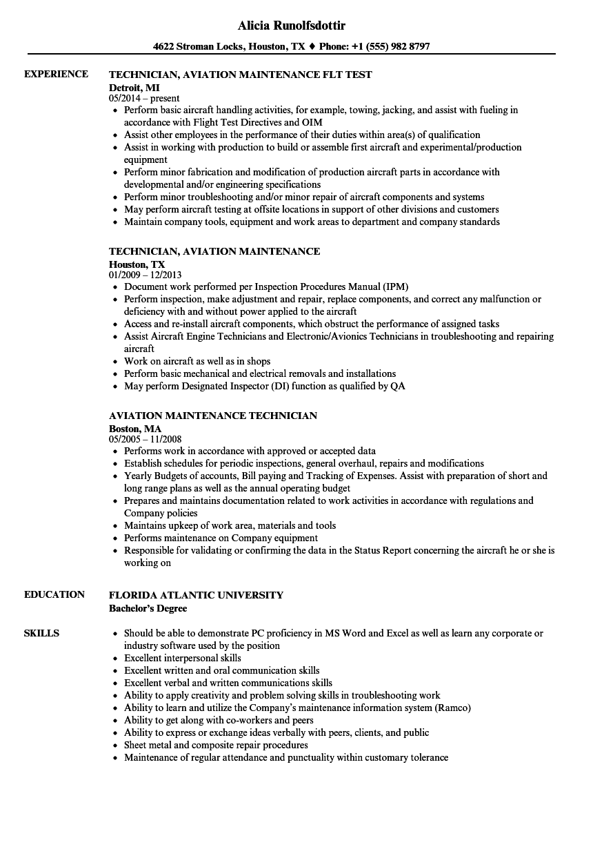 aviation maintenance technician resume samples