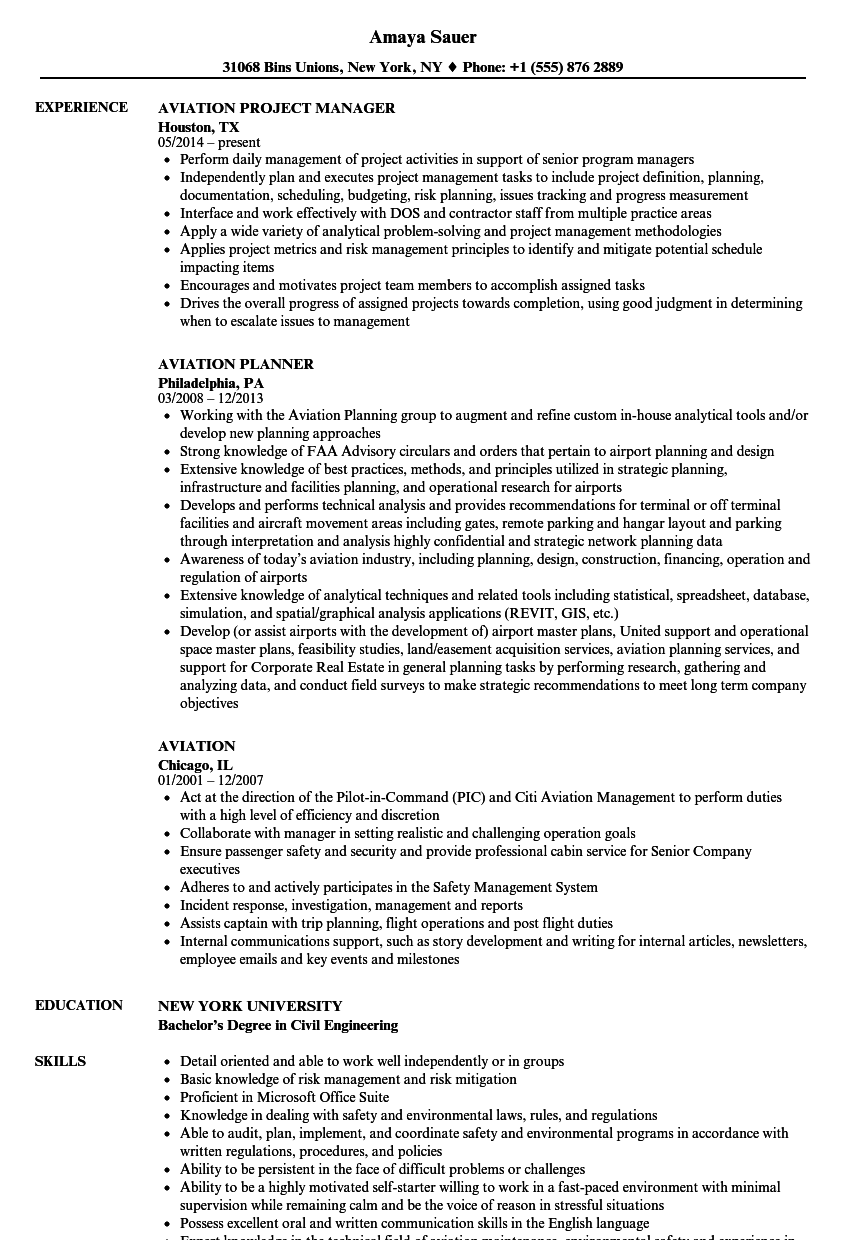 aviation resume samples