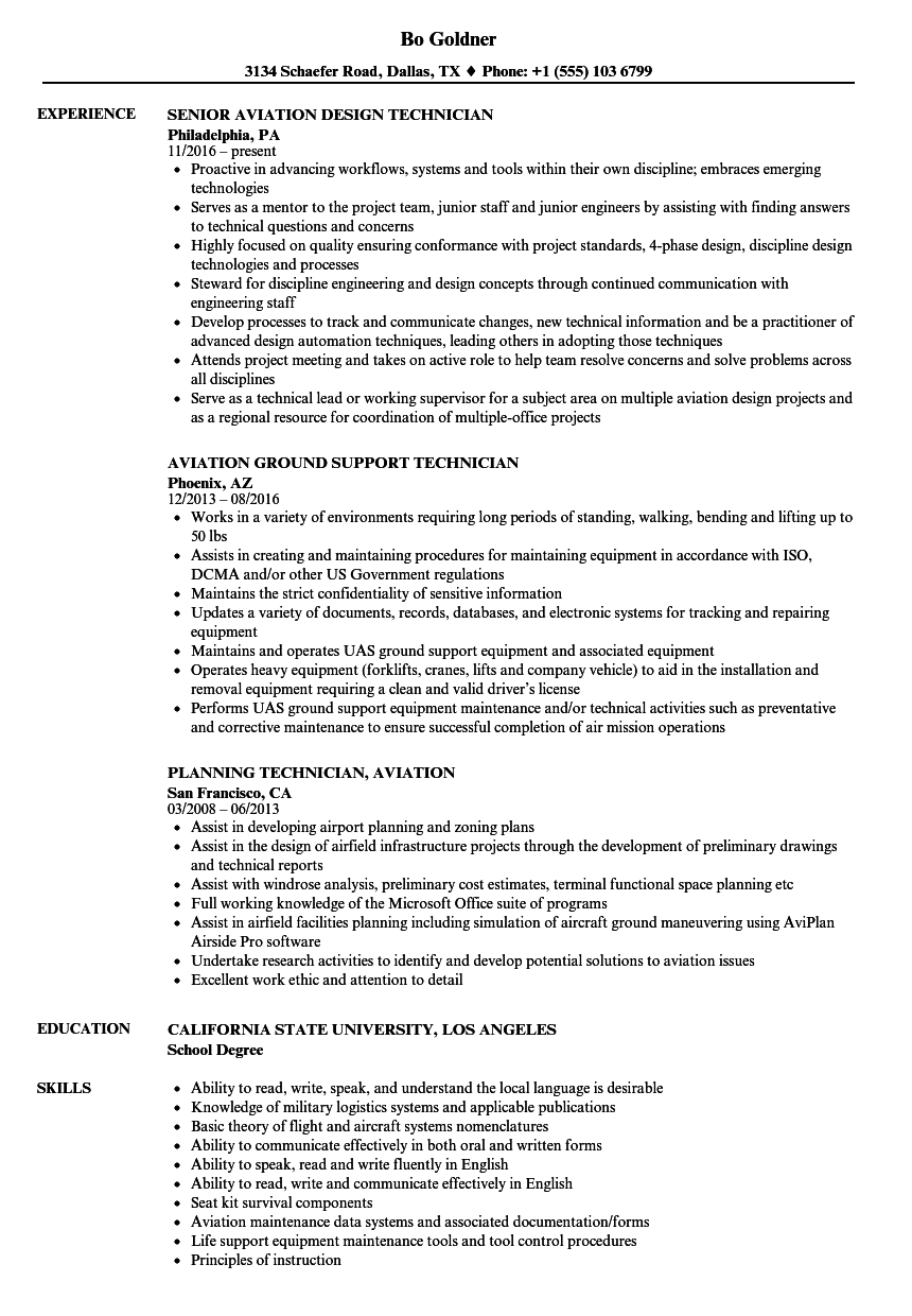 aviation technician resume samples