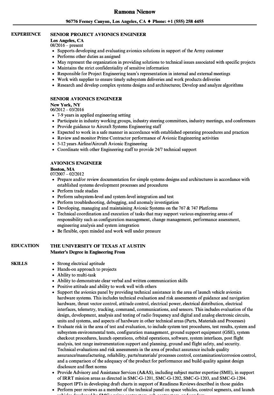 avionics engineer resume samples