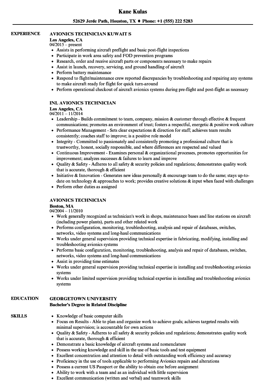 Download Avionics Technician Resume Sample As Image File