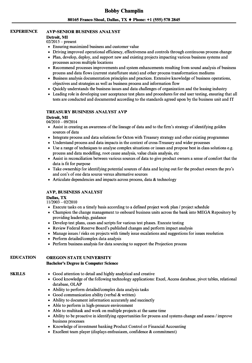 avp  business analyst resume samples