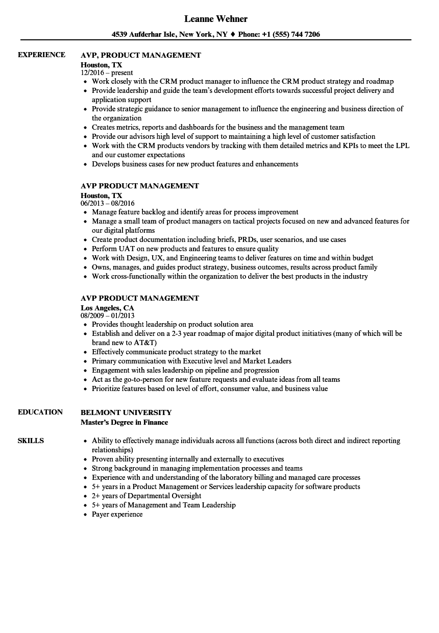 AVP Product Management Resume Samples | Velvet Jobs