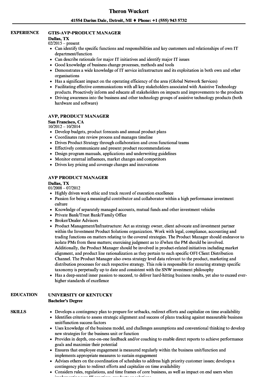 avp product manager resume samples