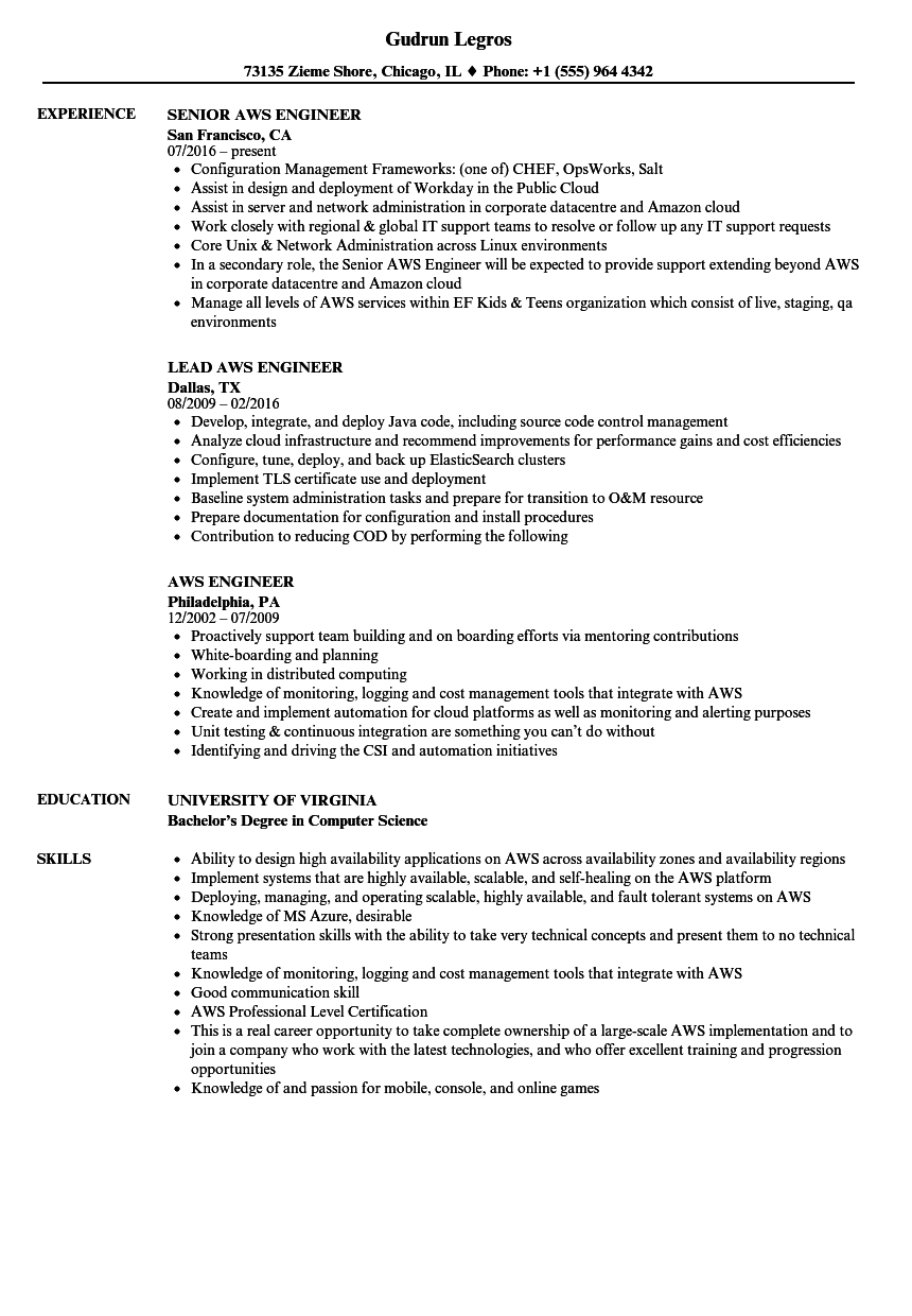 Aws Engineer Resume Samples | Velvet Jobs