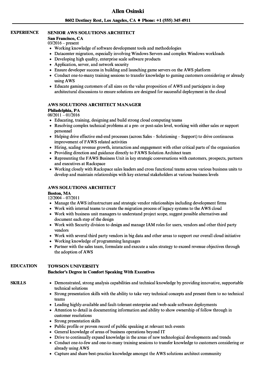 AWS Solutions Architect Resume Samples | Velvet Jobs