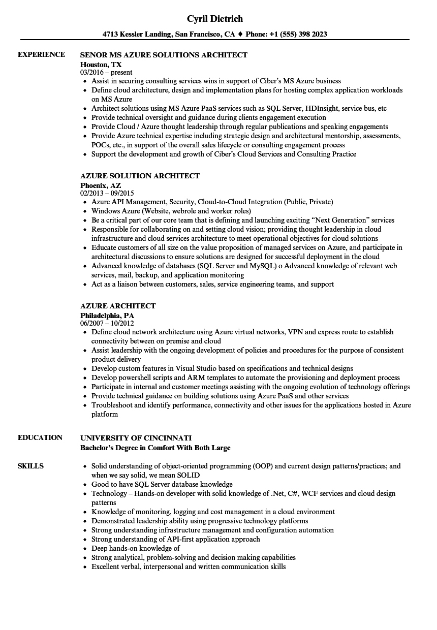 Azure Architect Resume Samples  Velvet Jobs