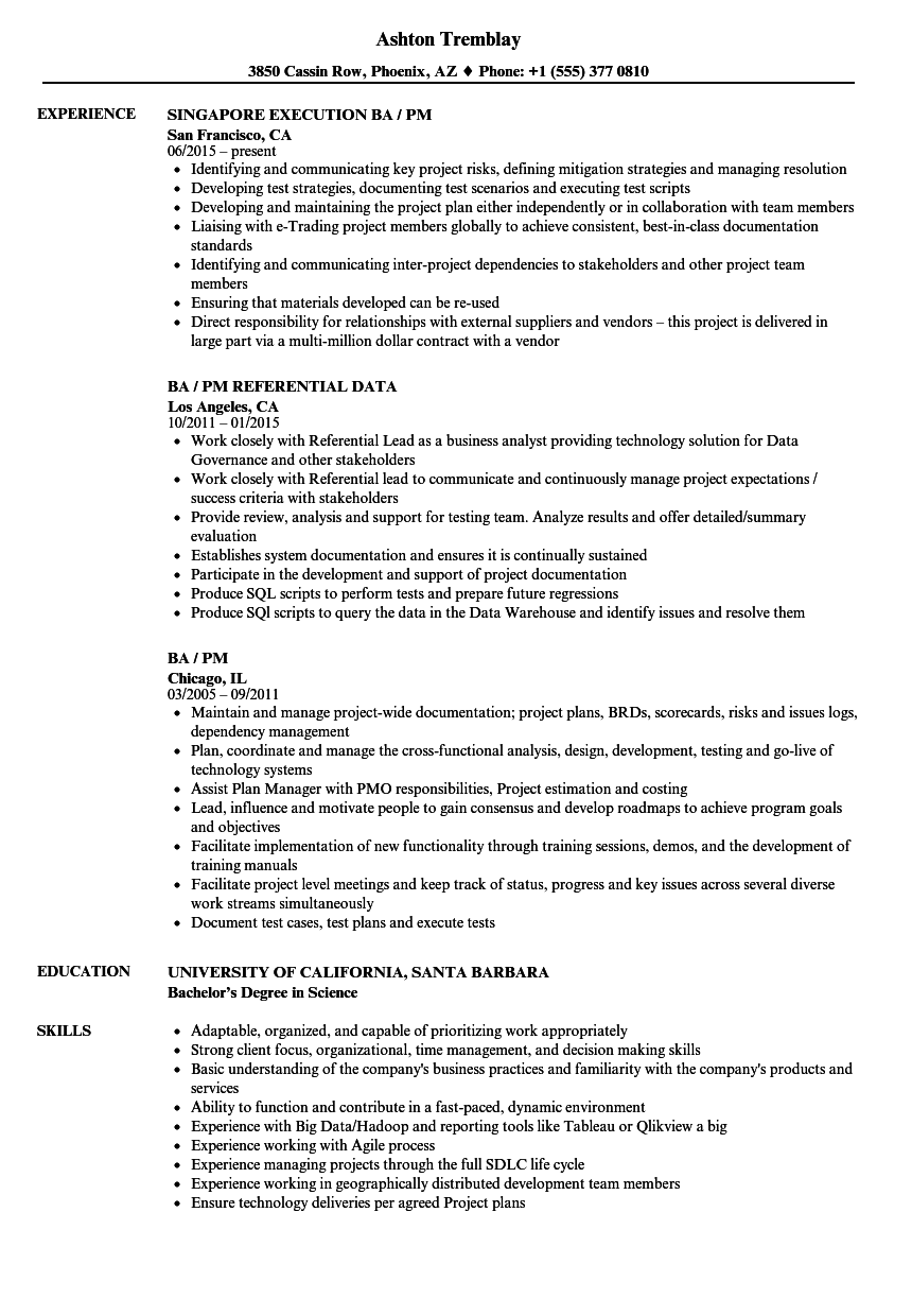 ba pm resume samples velvet jobs