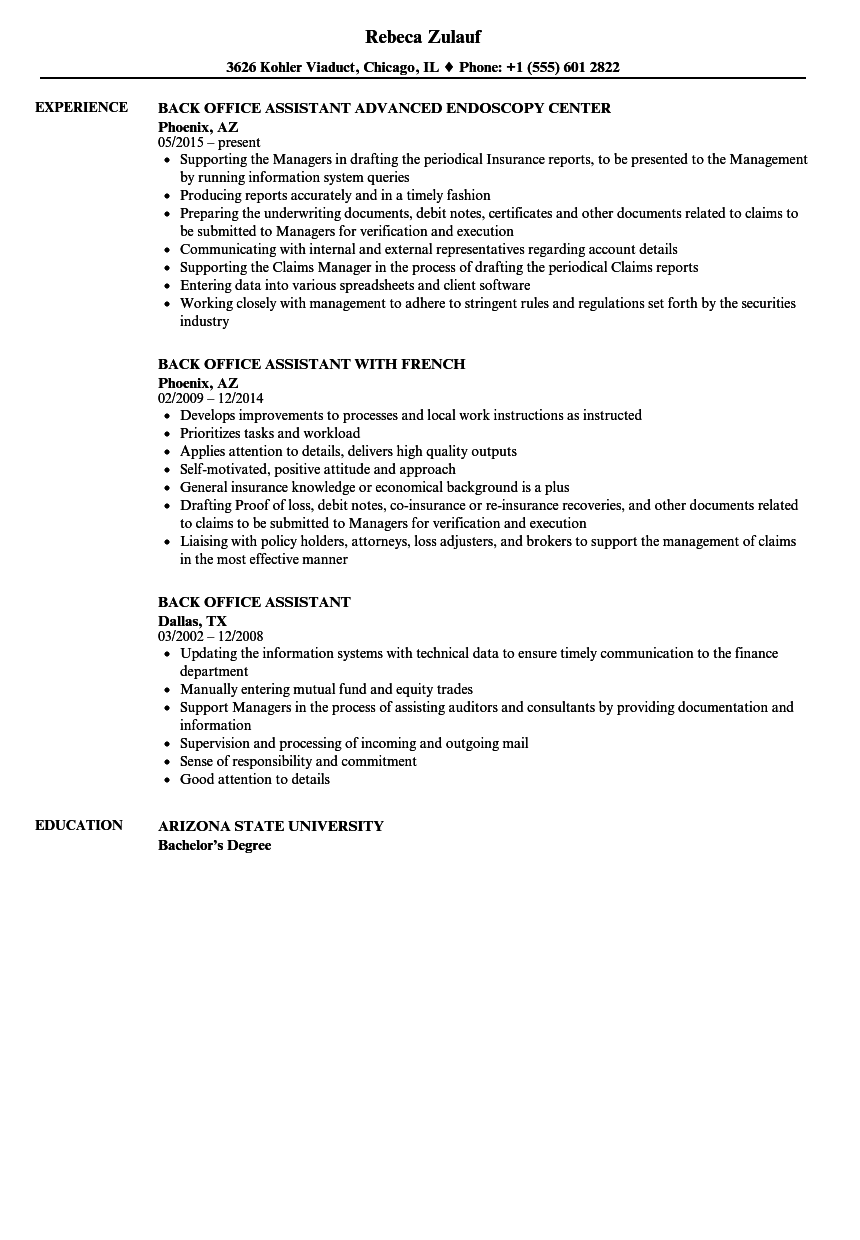 back office assistant resume samples