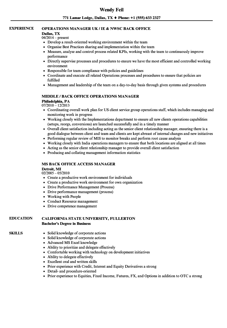back office manager resume samples