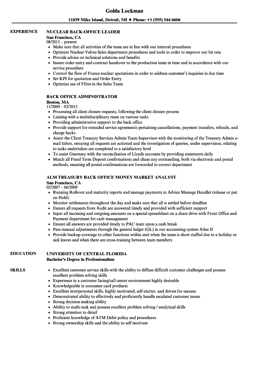 Back Office Resume Samples Velvet Jobs