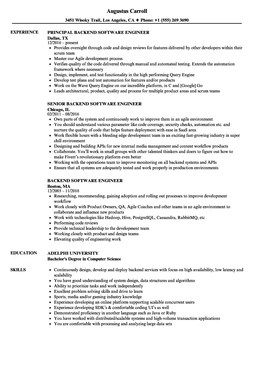 Backend Software Engineer Resume Samples | Velvet Jobs