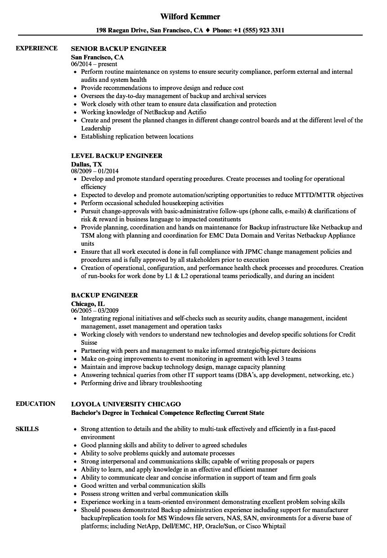 Backup Engineer Resume Samples | Velvet Jobs