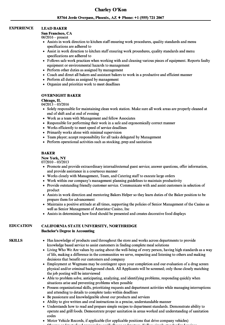 Baker Resume Samples Velvet Jobs