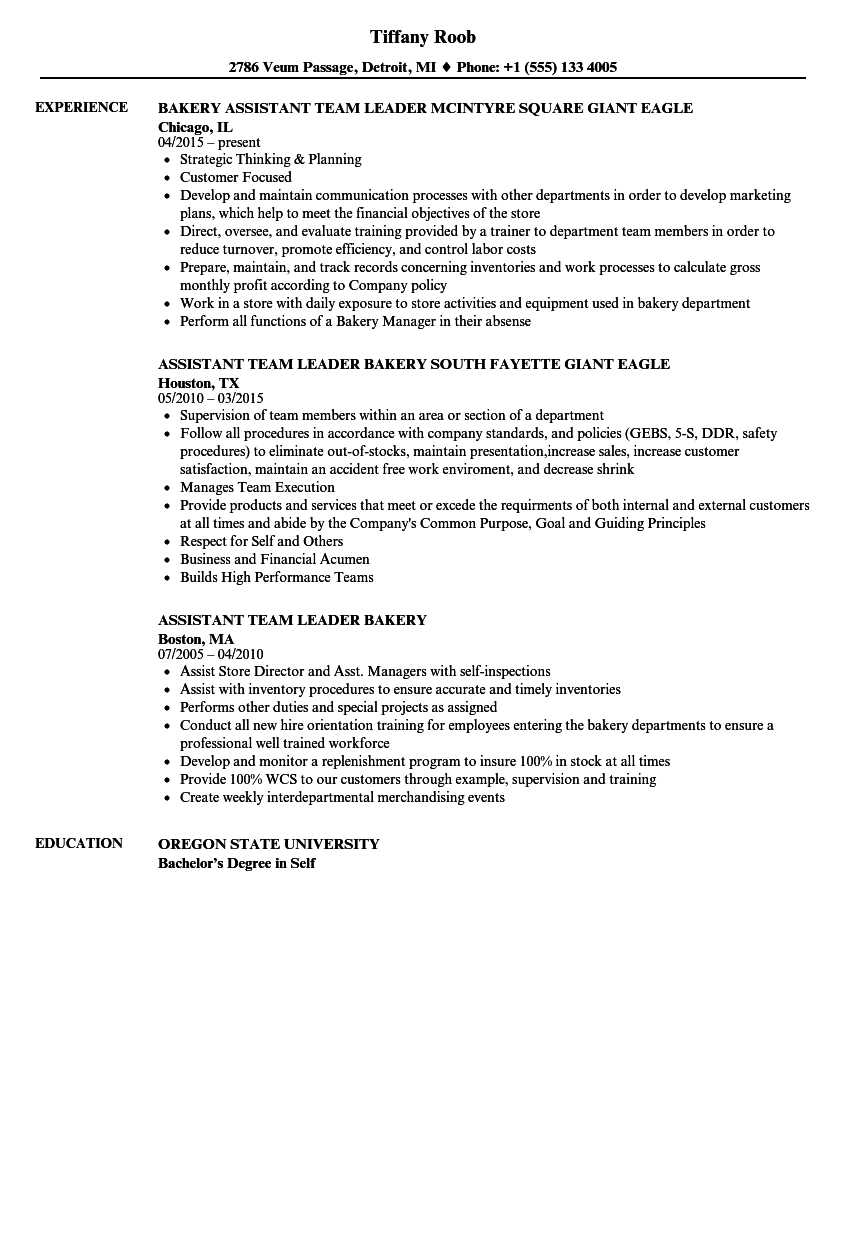 Download Bakery Assistant Resume Sample As Image File