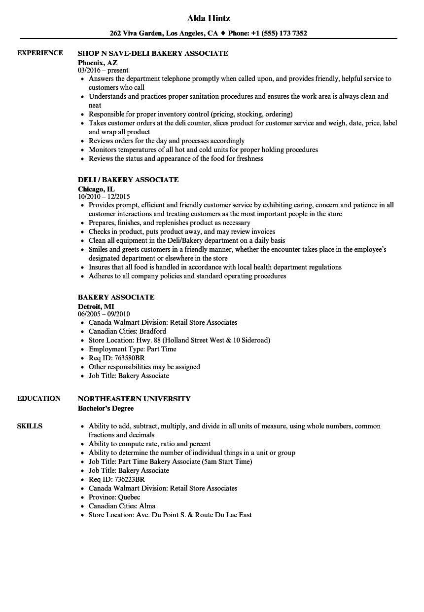bakery associate resume samples