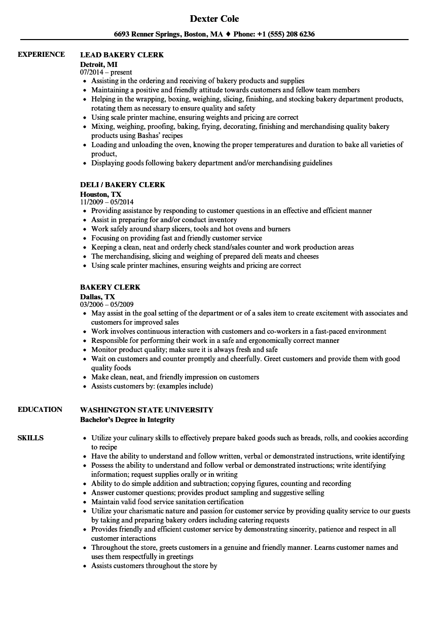 bakery clerk resume samples