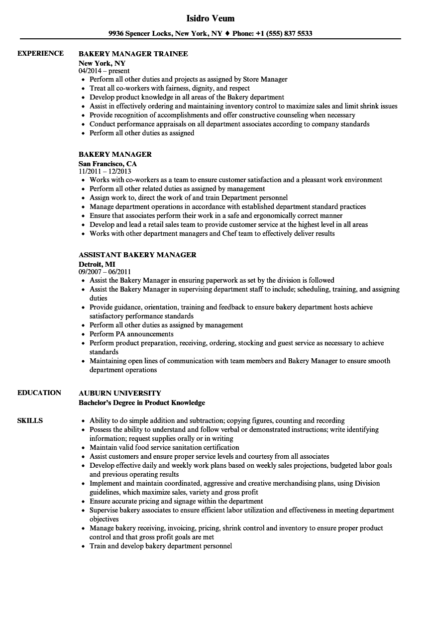 Bakery Department Manager Resume