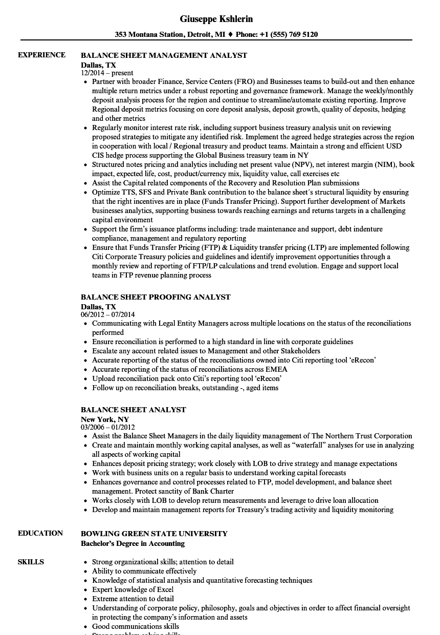 Balance Sheet Analyst Resume Samples | Velvet Jobs