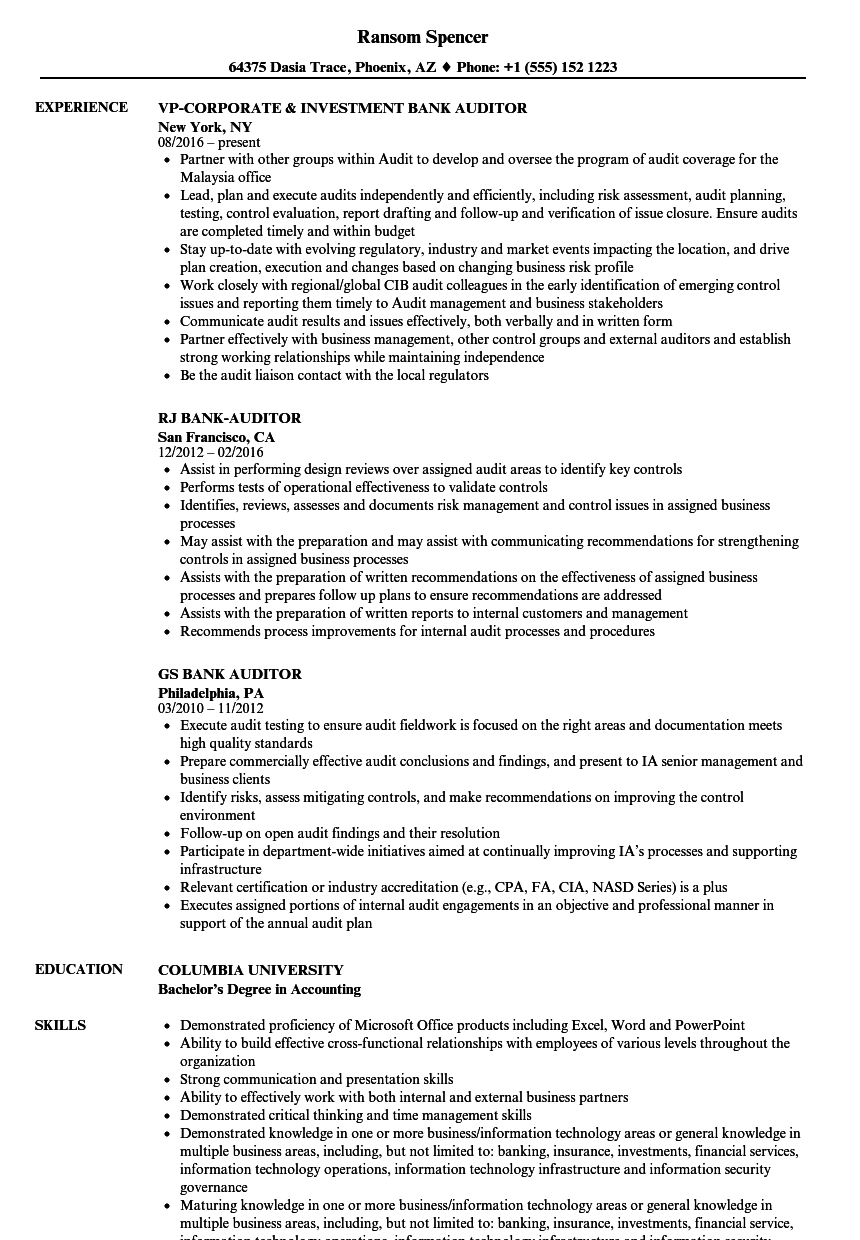 bank auditor resume samples