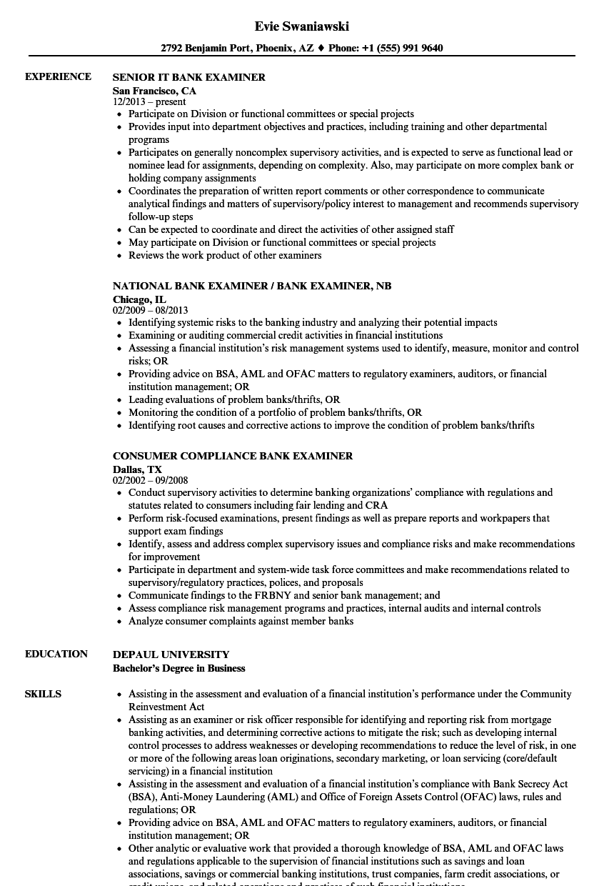 Download Bank Examiner Resume Sample As Image File