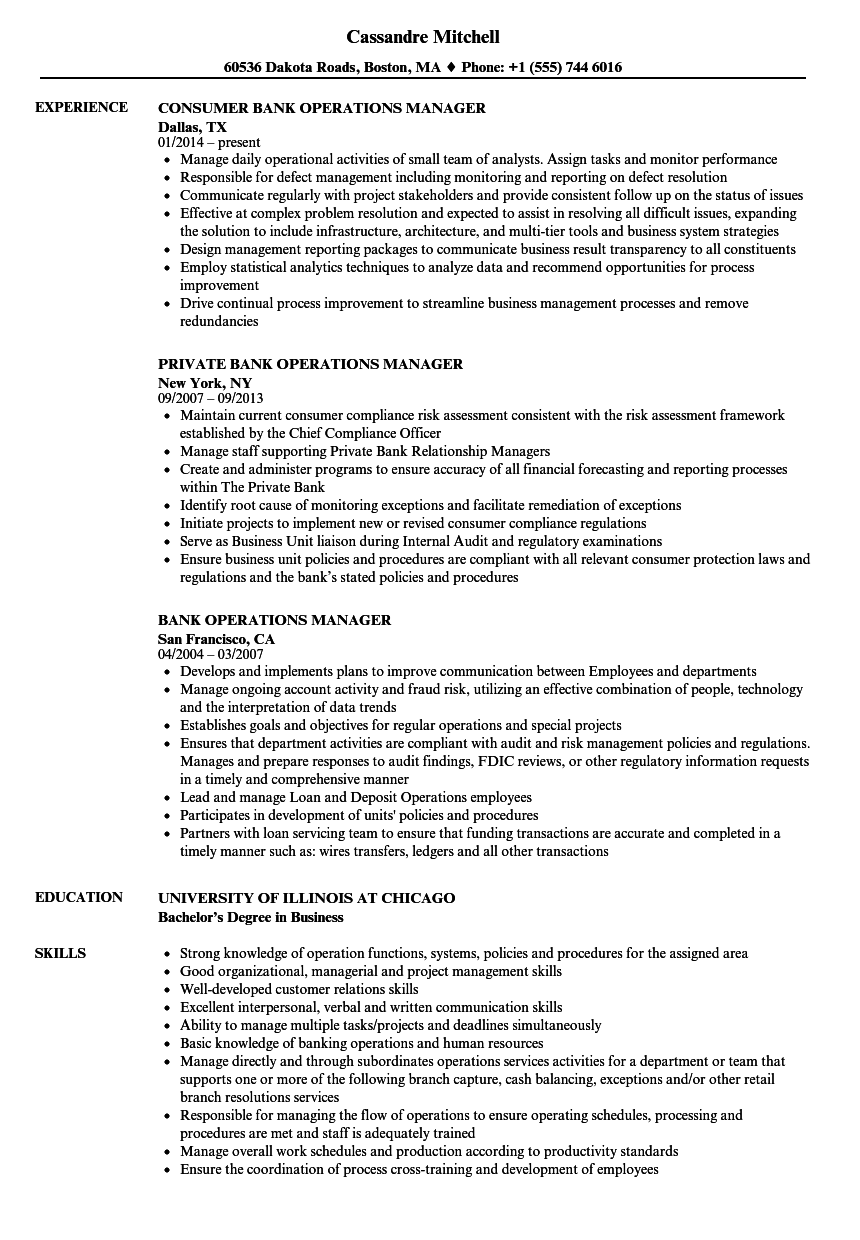 Resume for operations manager in banks