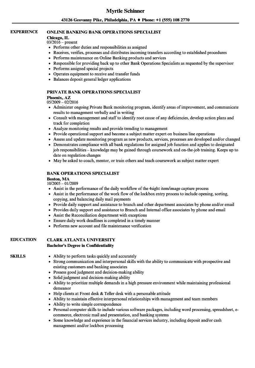Bank Operations Specialist Resume Samples | Velvet Jobs