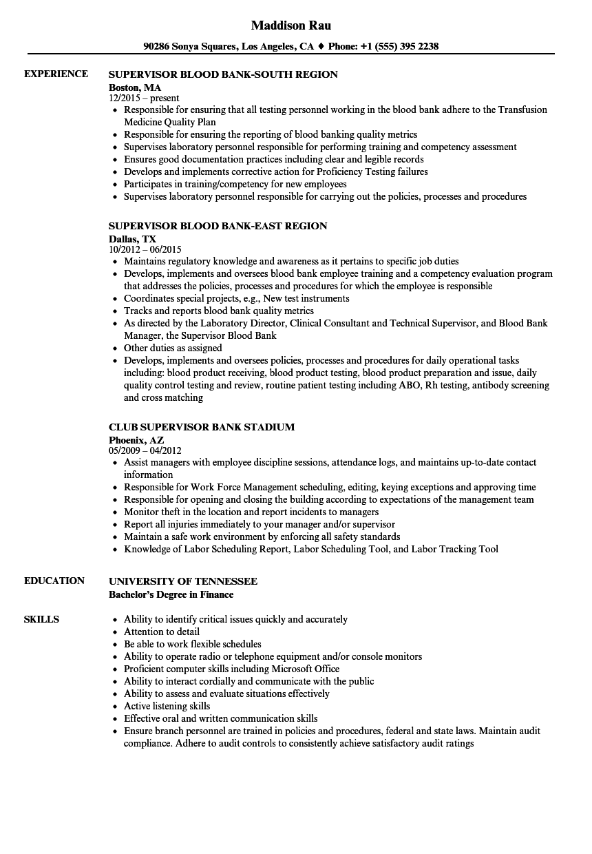 bank supervisor resume samples velvet jobs