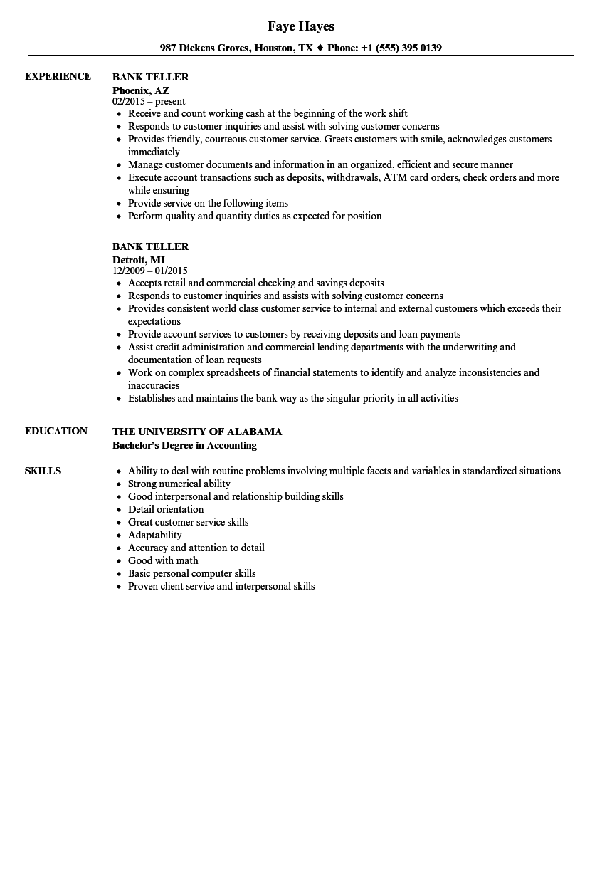 download bank teller resume sample as image file - Sample Teller Resume