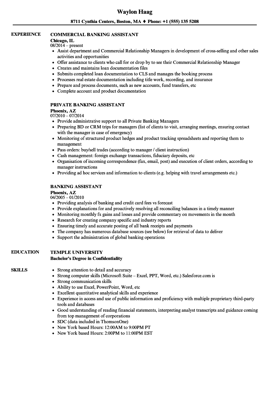 Banking Assistant Resume Samples | Velvet Jobs