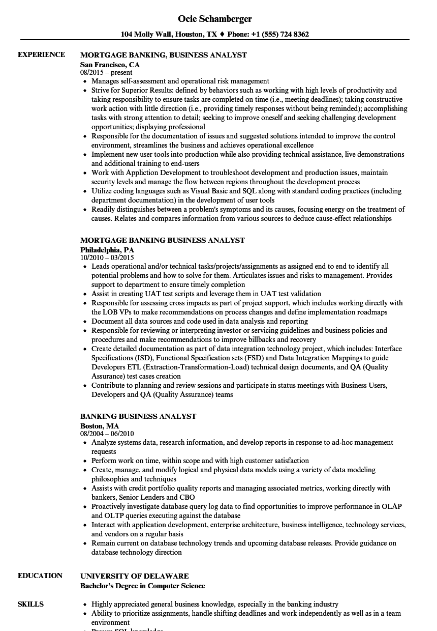 banking business analyst resume samples