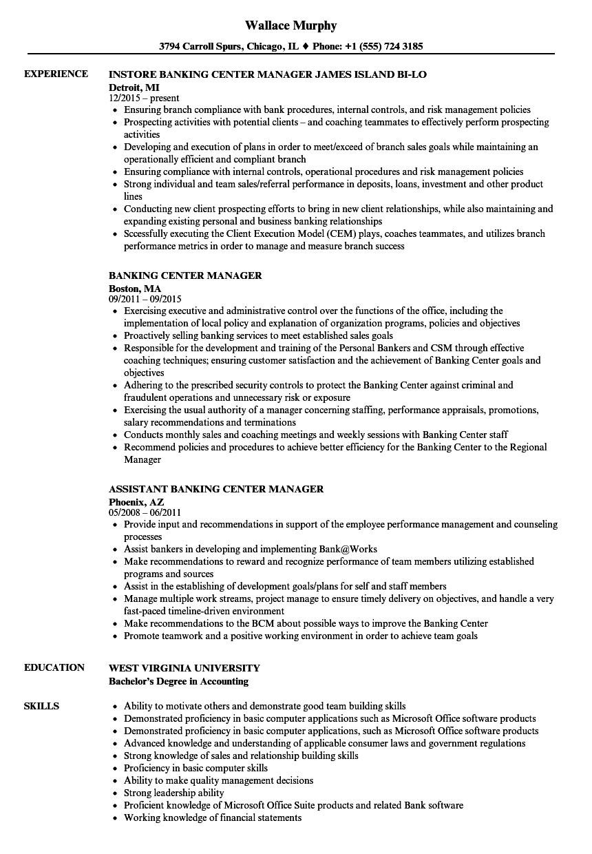 Banking Center Manager Resume Samples | Velvet Jobs