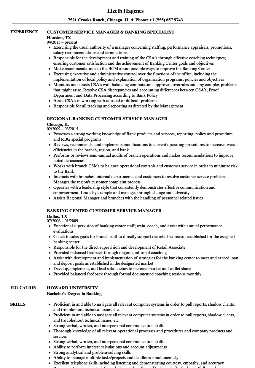 banking customer service resume samples