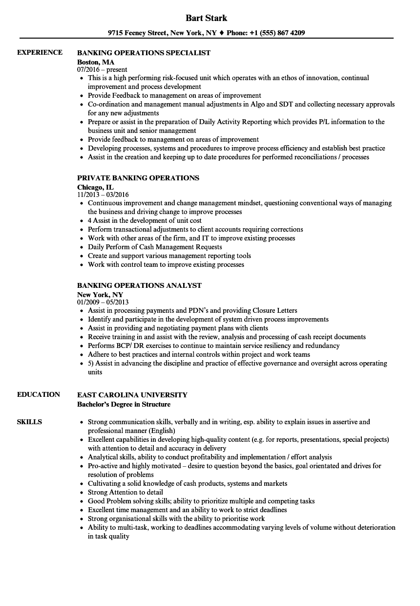 resume sample for banking operations