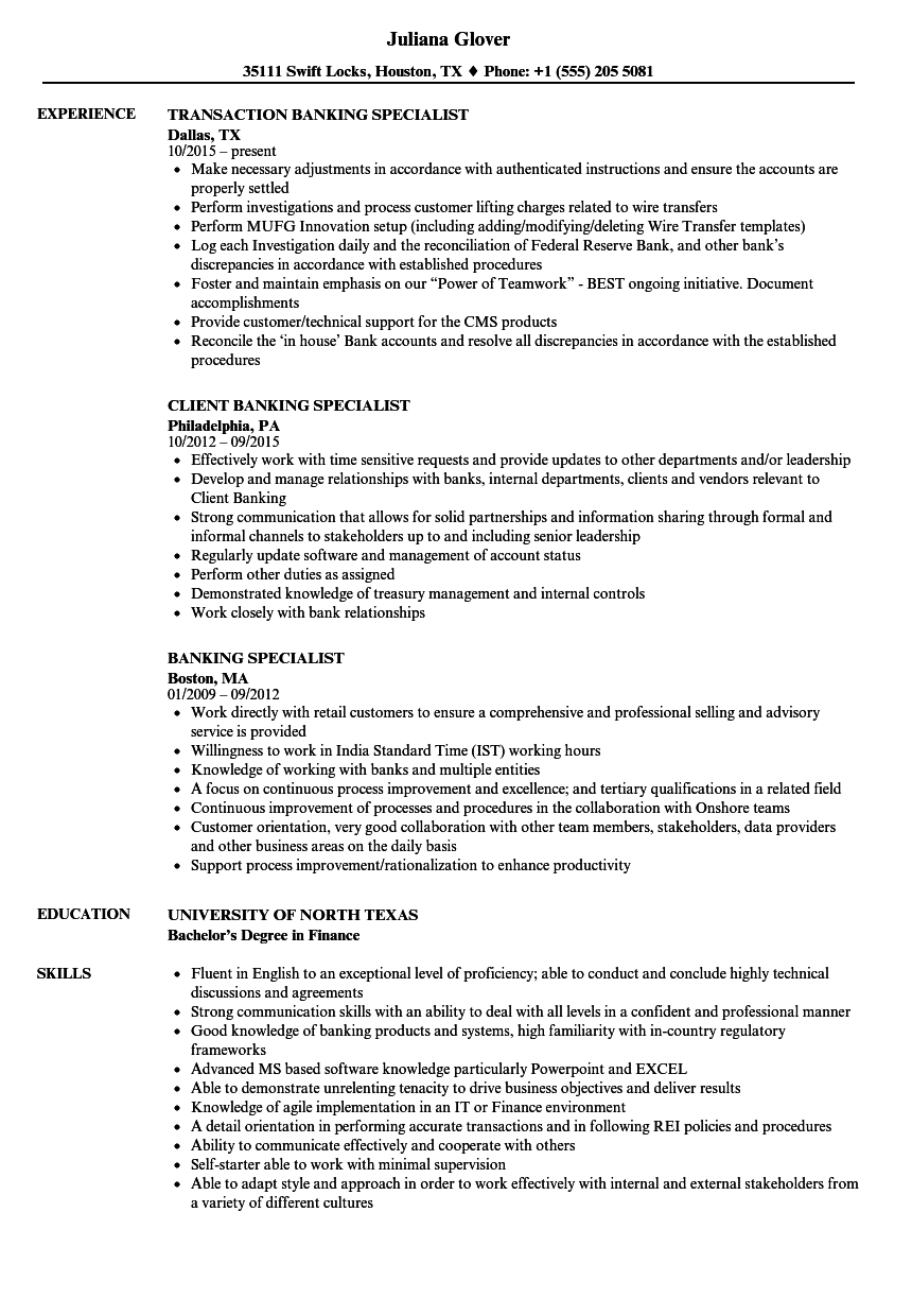 banking specialist resume samples
