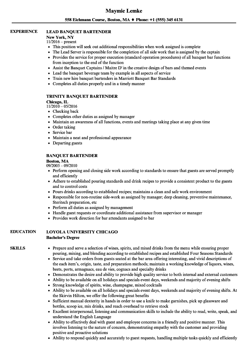 Banquet Bartender Sample Resume business officer sample resume ...
