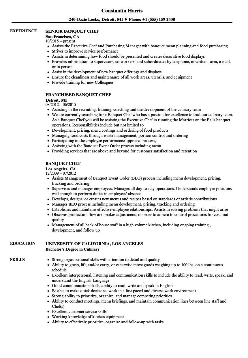 Banquet Chef Resume Sample