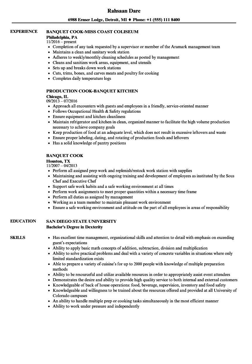 banquet cook resume samples