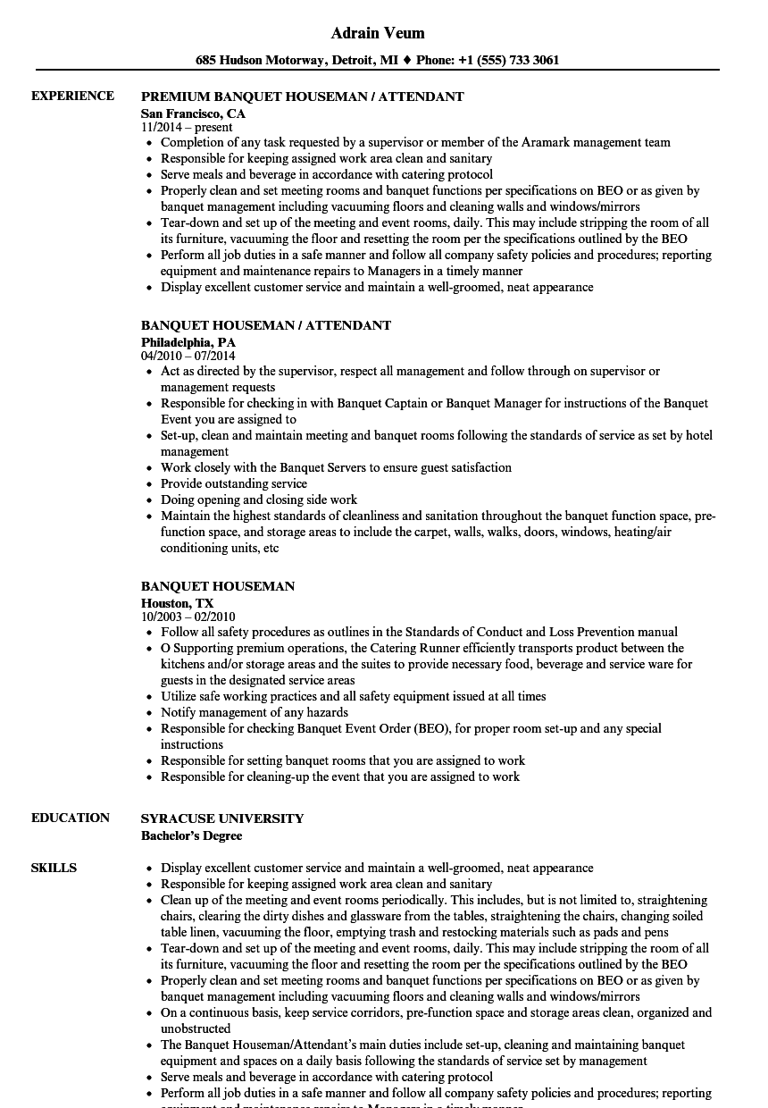 Banquet Houseman Resume Samples | Velvet Jobs